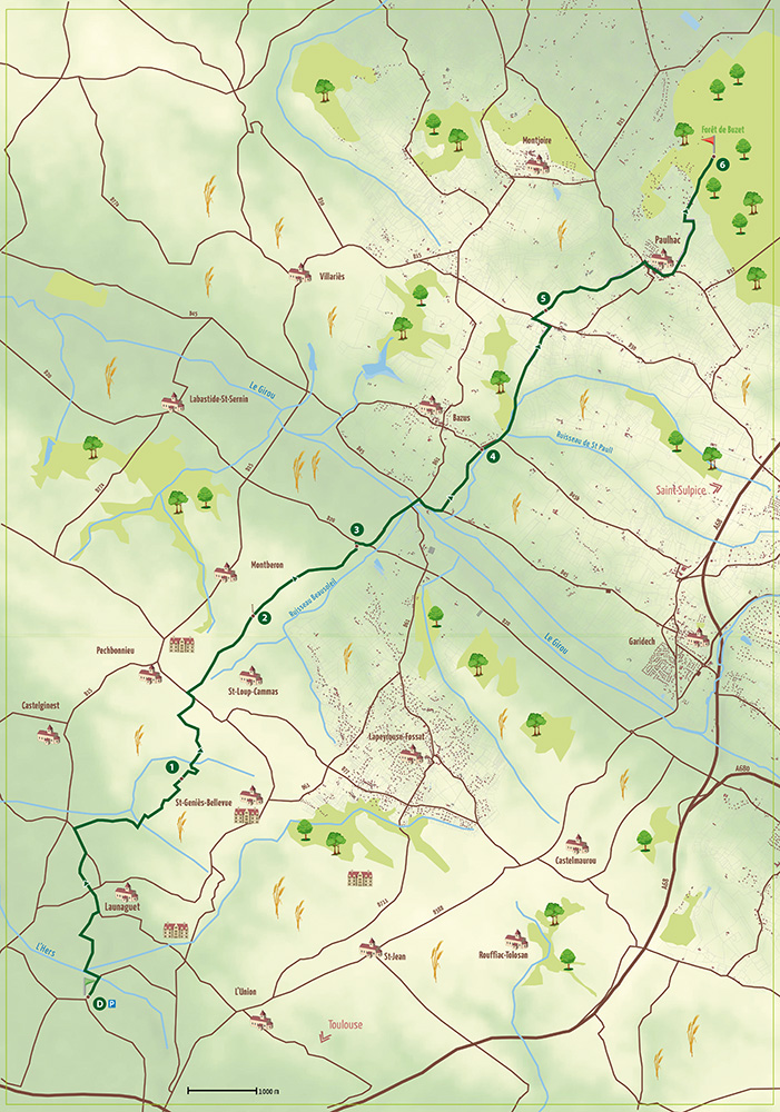 Le Chemin du Poutou entre Launaguet et Paulhac