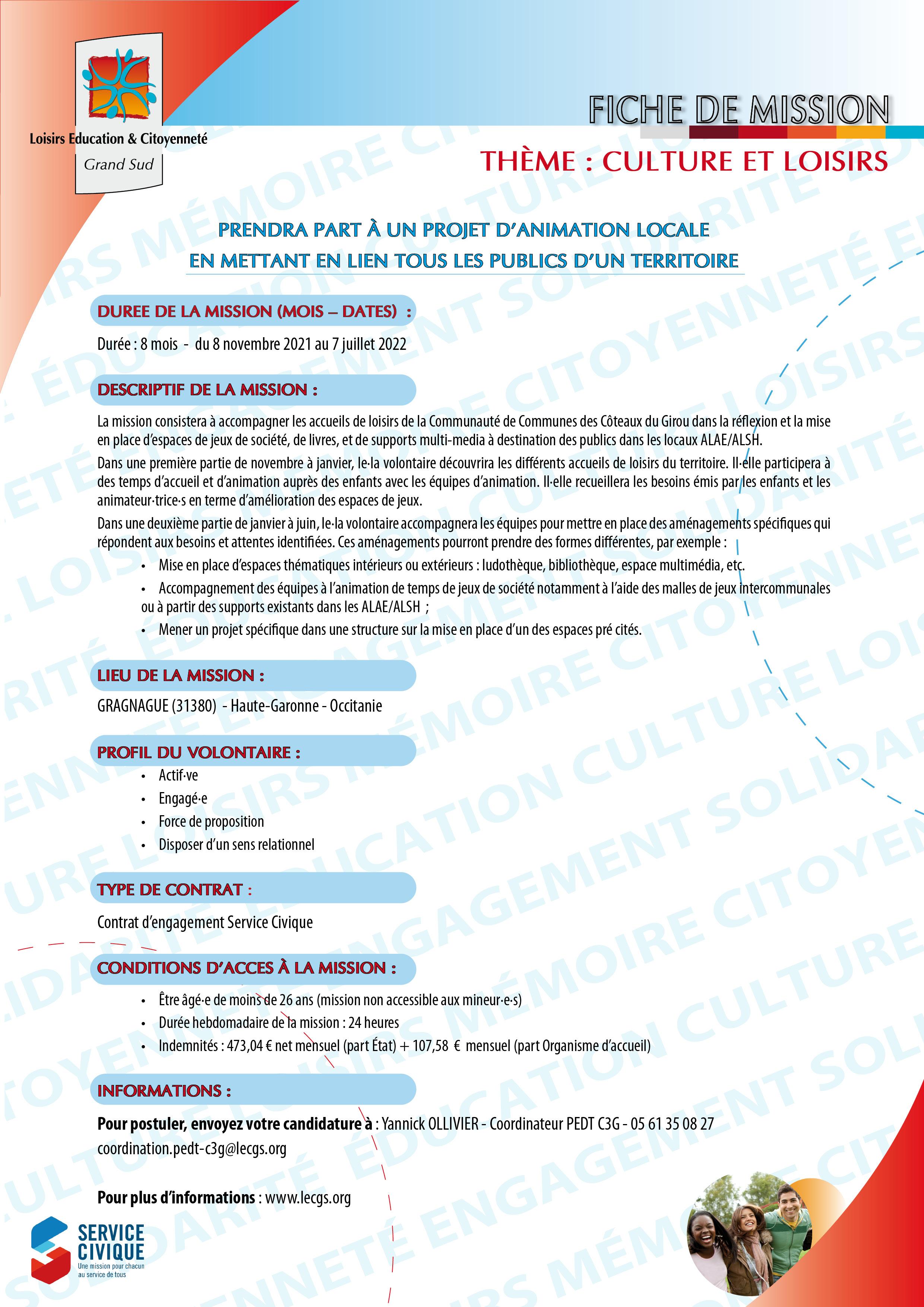 Mission de Service Civique LE&C Coteaux du Girou