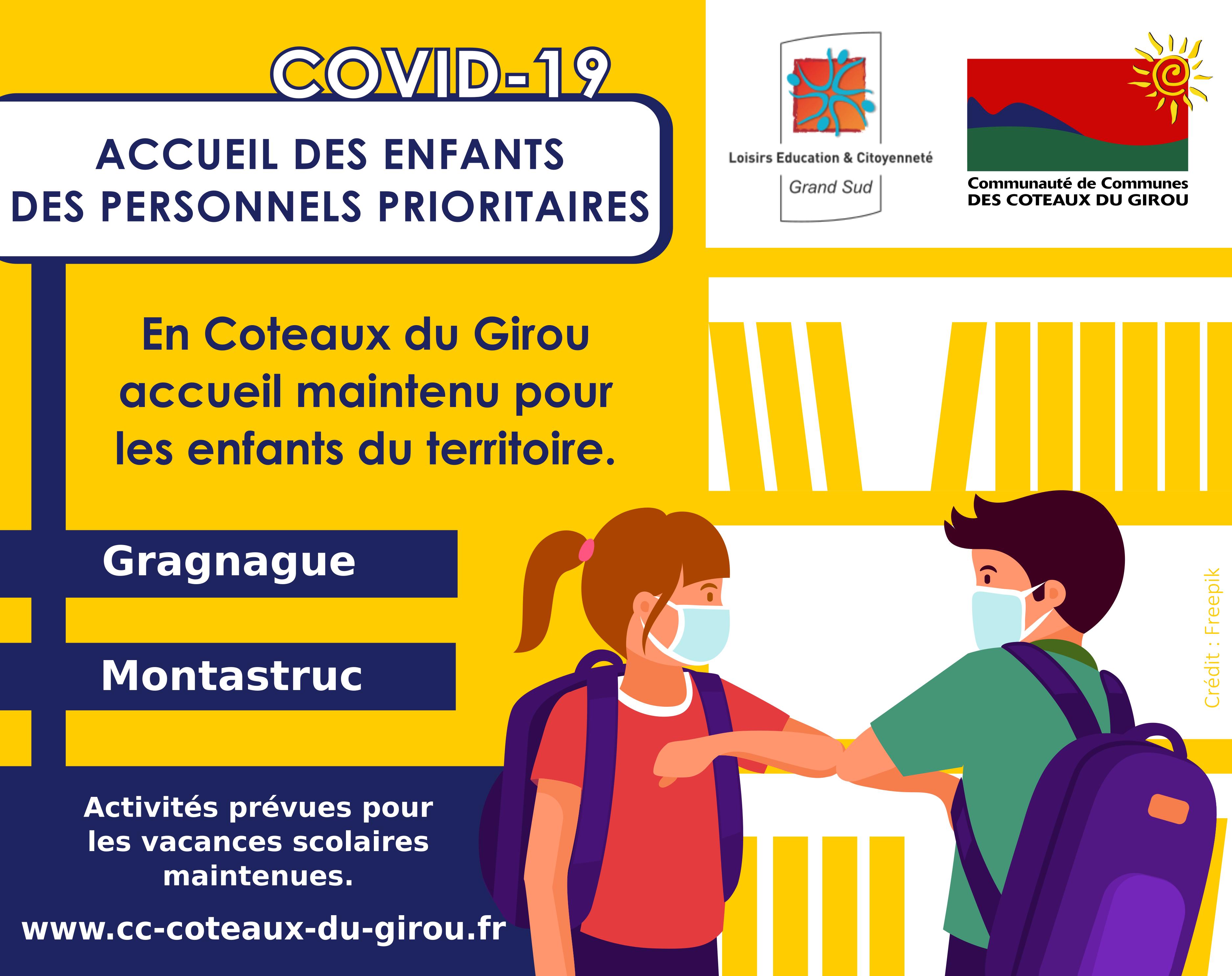 Covid-19 : accueil des enfants des personnels prioritaires